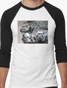 Tiredy Tabby Twins Men's Baseball ¾ T-Shirt