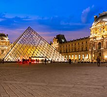 Ghosts Of The Louvre - Courtyard At Night by Mark Tisdale