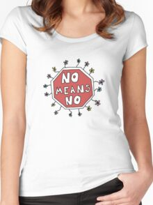 no means no stop sign Women's Fitted Scoop T-Shirt
