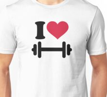 I love barbell dumbbell Unisex T-Shirt