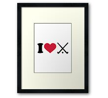 I love Field hockey clubs Framed Print