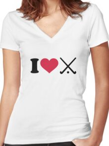 I love Field hockey clubs Women's Fitted V-Neck T-Shirt