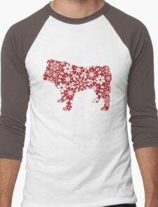 Christmas Snowflakes Bulldog Men's Baseball ¾ T-Shirt