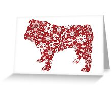 Christmas Snowflakes Bulldog Greeting Card