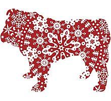 Christmas Snowflakes Bulldog Photographic Print
