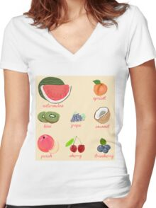 fruit background Women's Fitted V-Neck T-Shirt