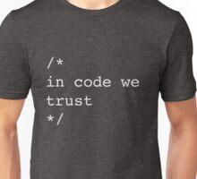 In Code We Trust (White) Unisex T-Shirt