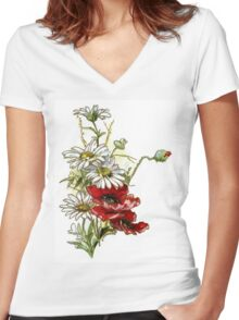 Vintage Floral Daisies and Poppies Women's Fitted V-Neck T-Shirt