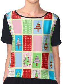 Christmas Squares Women's Chiffon Top