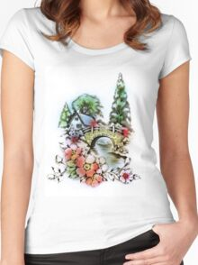Vintage Home and Flower Garden with Bridge Women's Fitted Scoop T-Shirt
