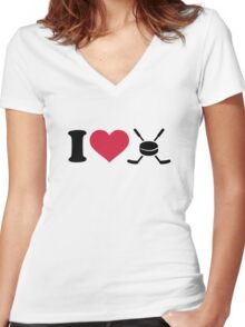 I love hockey sticks puck Women's Fitted V-Neck T-Shirt