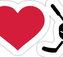I love hockey sticks puck Sticker