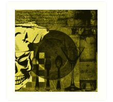 Skull Chef Art: Yellow Art Print