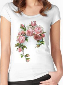 Vintage Pink Rose Floral Women's Fitted Scoop T-Shirt