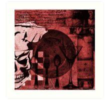 Skull Chef Art: Red Art Print