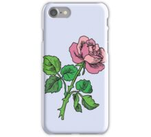 pink rose with stem iPhone Case/Skin
