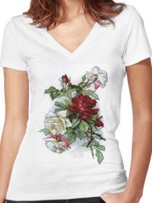 Vintage Roses Red Floral Women's Fitted V-Neck T-Shirt