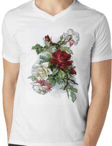 Vintage Roses Red Floral Mens V-Neck T-Shirt