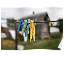 colorful clothespins Poster