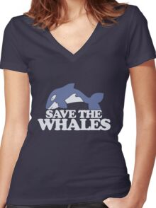 Save the Whales Women's Fitted V-Neck T-Shirt