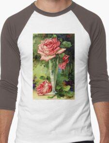 Vintage Vase and Pink Roses Men's Baseball ¾ T-Shirt