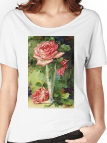 Vintage Vase and Pink Roses Women's Relaxed Fit T-Shirt