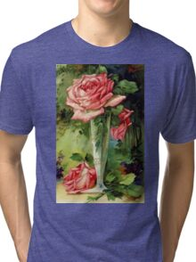 Vintage Vase and Pink Roses Tri-blend T-Shirt