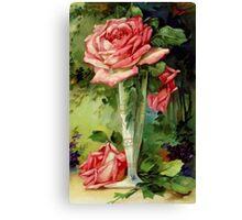 Vintage Vase and Pink Roses Canvas Print