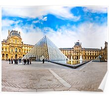 Beautiful Day In The Louvre Courtyard - Paris Poster