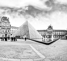 Landmark Louvre Museum Courtyard - Black and White by Mark Tisdale