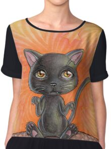 Black Cat Chiffon Top