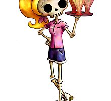 Skeleton Pin Up Girl Waitress by colonelle