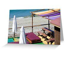 Terrace bar at the beach. Greeting Card