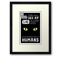 Cats can see at 1/6th the light level as needed by Humans Framed Print