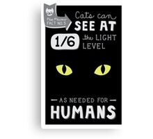 Cats can see at 1/6th the light level as needed by Humans Canvas Print