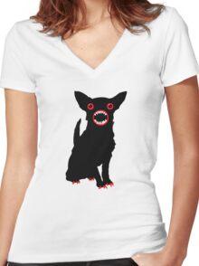 Black dog Women's Fitted V-Neck T-Shirt