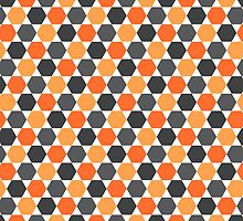 Orange and gray hexagon pattern by Mhea