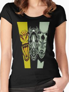 Zyuoh The World - Rhino, Crocodile, Wolf Women's Fitted Scoop T-Shirt