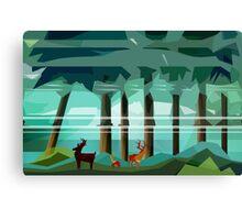 Deer in Pine Woods Canvas Print
