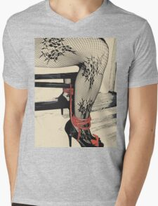 Bodystocking, Ropes and Tied to Chair Girl BDSM Side Mens V-Neck T-Shirt