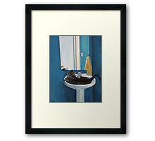 Cat in a Sink Framed Print