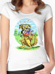 8-BIT DOG HUNTS DUCK Women's Fitted Scoop T-Shirt