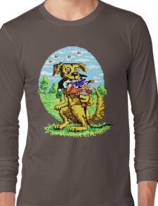 8-BIT DOG HUNTS DUCK Long Sleeve T-Shirt