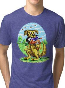 8-BIT DOG HUNTS DUCK Tri-blend T-Shirt