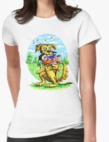 8-BIT DOG HUNTS DUCK Womens Fitted T-Shirt