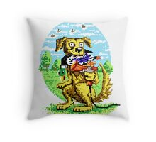 8-BIT DOG HUNTS DUCK Throw Pillow
