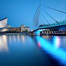 Salford Quays Media Bridge and Imperial War Museum by MartinWilliams