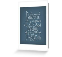 The Most Beautiful Things - The Little Prince Quote Greeting Card
