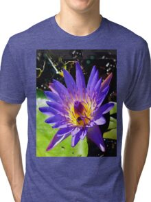 Purple water lily vertical view Tri-blend T-Shirt