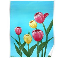 Tulips in Blue Poster